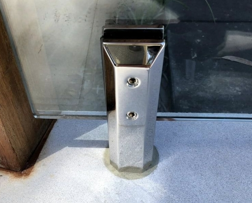 close up core drilled square polished spigot